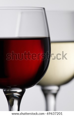 Red and white wine in glass close up shoot - stock photo