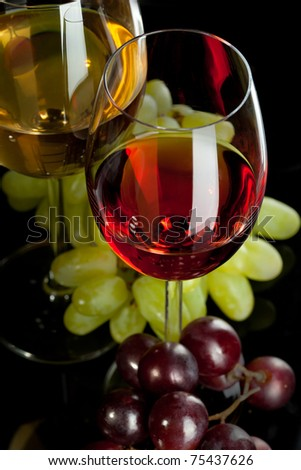 Red and white wine in glasses with grape. Top view - stock photo