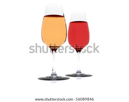 red and white wine in wineglasses