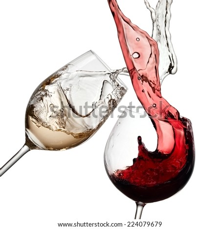 Red and white wine splash - stock photo