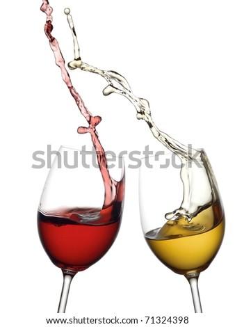 Red and white wine splash - stock photo
