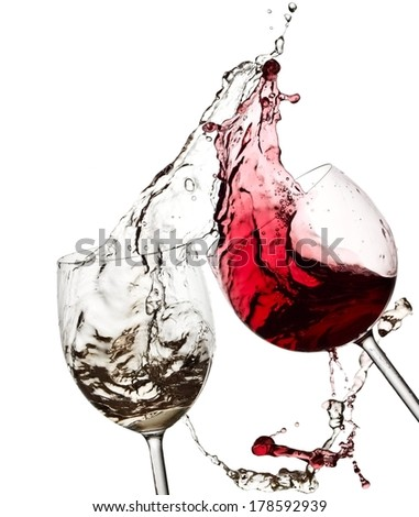 Red and white wine splash with drops