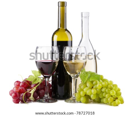 Red and white wine, with bunches of grapes, white background