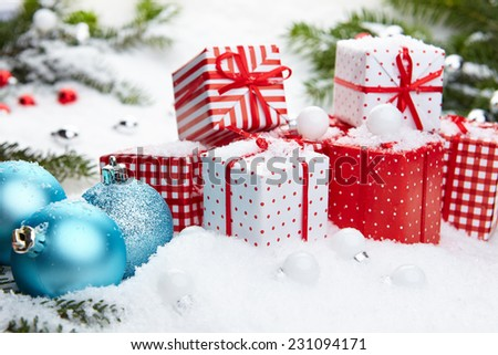 Red and white  xmas decoration on holiday background  - stock photo