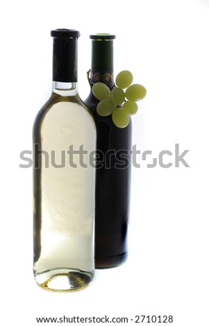 red and withe wine - stock photo