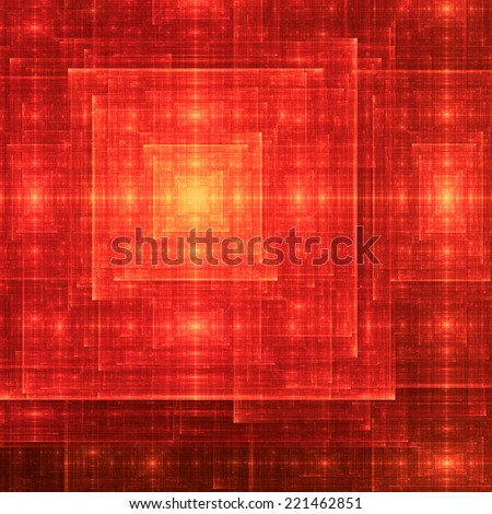 Red and yellow abstract square-like rough shining fractal spiral with many rough decorative intersecting lines and beams and a glowing center  - stock photo