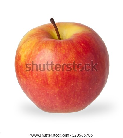 Red and yellow apple isolated on white background - stock photo