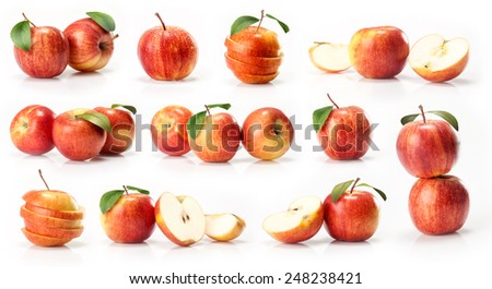 red and yellow apples fruit  isolated on white background