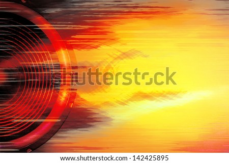Red and yellow audio speaker background - stock photo