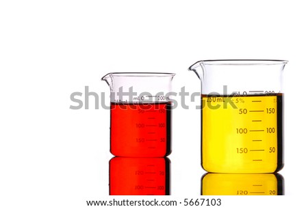 Red and Yellow Beakers isolated on white. - stock photo