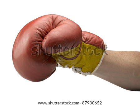 Red and yellow boxe gloves with arm - stock photo