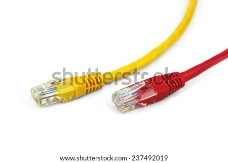 red and yellow cable with RJ-45 closeup