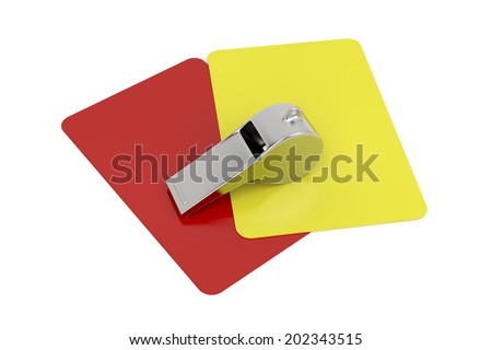 Red and yellow cards and metal whistle on white background  - stock photo