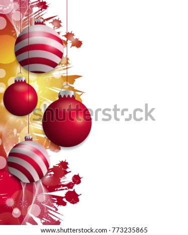 Red and yellow Christmas background with hung red baubles. Decorative balls elements for holiday design. illustration.