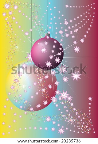 red and yellow christmas baubles illustration