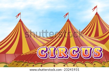 Red and yellow circus tents placed on a green field with a sign - stock photo