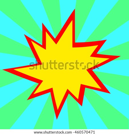 Red and yellow comic cartoon speech bubble illustration. Blue green background - stock photo