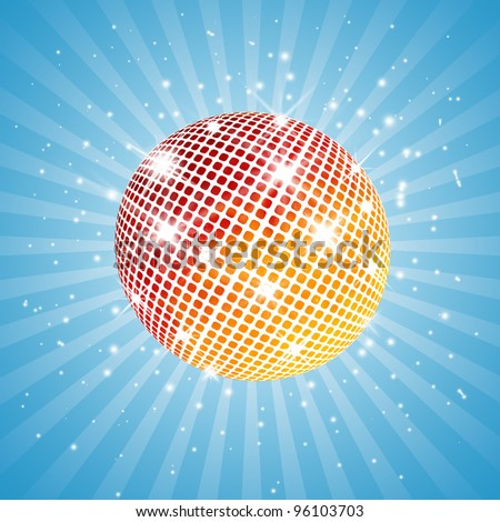red and yellow disco ball - stock photo