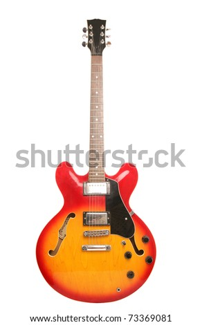 red and yellow electric guitar studio cutout - stock photo