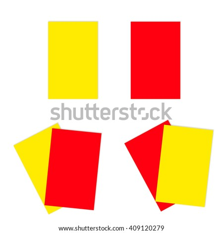 Red and yellow football soccer cards. Both alone and together. - stock photo
