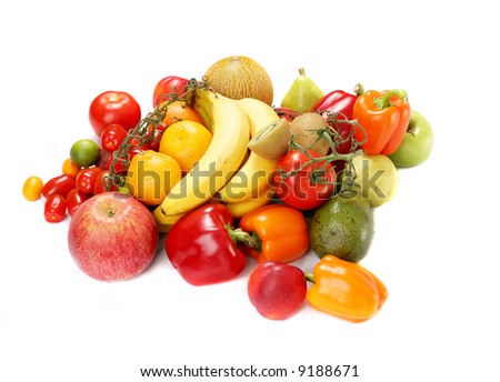 red and yellow fruits and vegetables - isolated on white