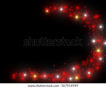 Red and yellow glitter texture on black background. Hearts and star dust trail with sparkling stars. Gold shining star with red heart and sparkles. VIP Party 2016 invitation. Valentines Day 2016 theme - stock photo