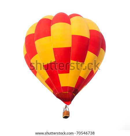 Red and yellow hot air balloon isolated on white. - stock photo