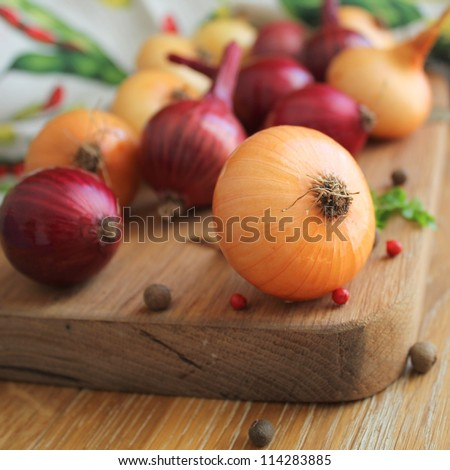 Red and yellow onions on the cutting board - stock photo