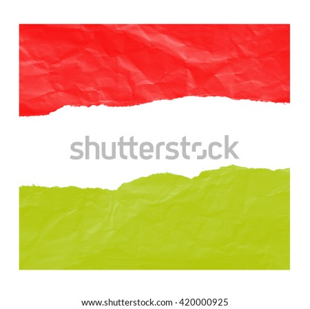 Red and Yellow paper, ripped in paper on white - stock photo