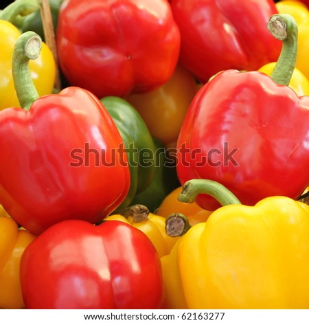 red and yellow pepper  background - stock photo