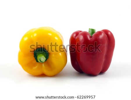 Red and Yellow Pepper isolated on white background - stock photo