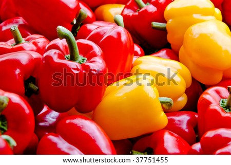 Red and yellow peppers at the market - stock photo