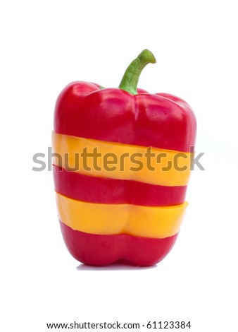red and yellow peppers sliced and reconstructed
