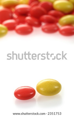 red and yellow pills - stock photo