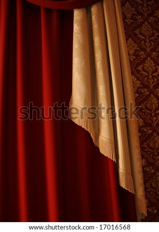 Red and yellow rippled textile curtain