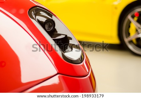 red and yellow sports cars - stock photo