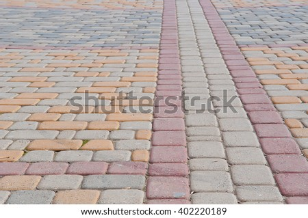 red and yellow stones paving texture background - stock photo