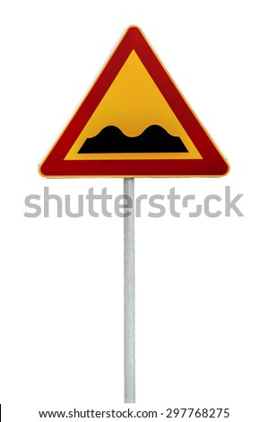 Red and yellow triangular warning road sign with a warning of a bumpy road ahead on a rod - stock photo