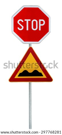 Red and yellow triangular warning road sign with STOP sign a warning of a bumpy road ahead on a rod - stock photo
