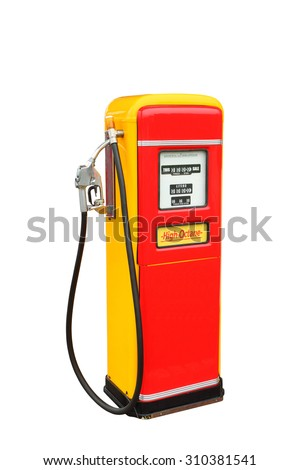 Red and yellow vintage gasoline fuel pump ,clipping path - stock photo