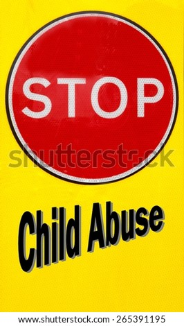 Red and yellow warning sign with a Child Abuse concept