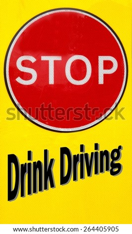 Red and yellow warning sign with a Drink Driving concept - stock photo