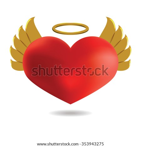 Red Angel  Heart with Golden Wings and Halo, Isolated On White Background.  St. Valentine's Illustration. - stock photo