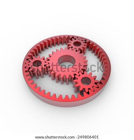 Red anodized steel planetary gears on a white background - stock photo