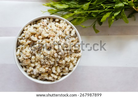 Red ant egg Used as food - stock photo