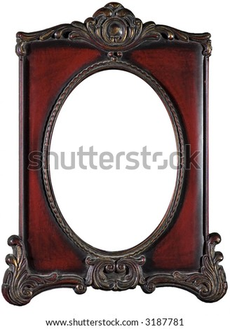 Red antique frame with blank oval copy space - stock photo