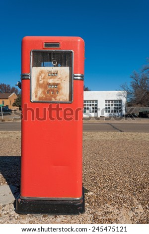 Red antique gas station in McLean town on Route 66 - stock photo
