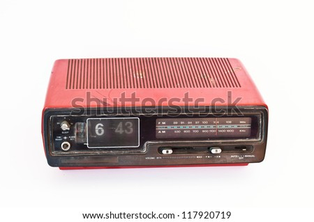 Red Antique radio vintage style.Retro and classic - stock photo