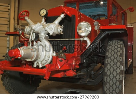 red antique restored firefighters truck - stock photo