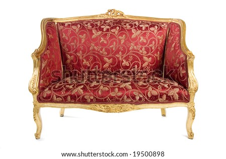 Red, antique sofa, isolated on white background. - stock photo